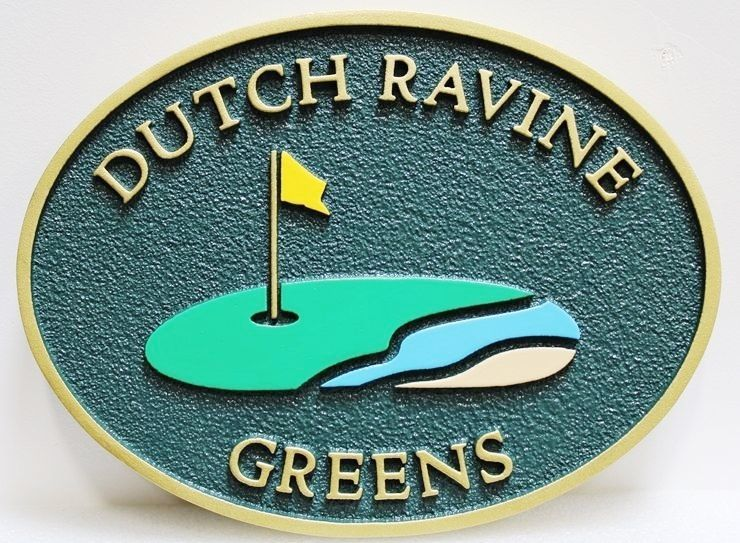 WP-1280 - Caved 2.5-D and Sandblasted HDU Plaque of the Logo for Dutch Ravine Greens, with a Golf Green as Artwork