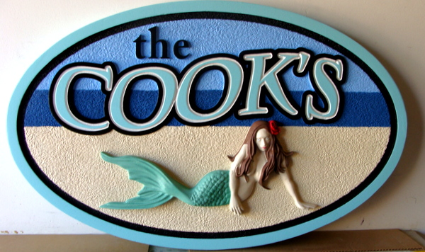 L21908- Beach House Name Sign, with 3-D Mermaid Reclining on Beach