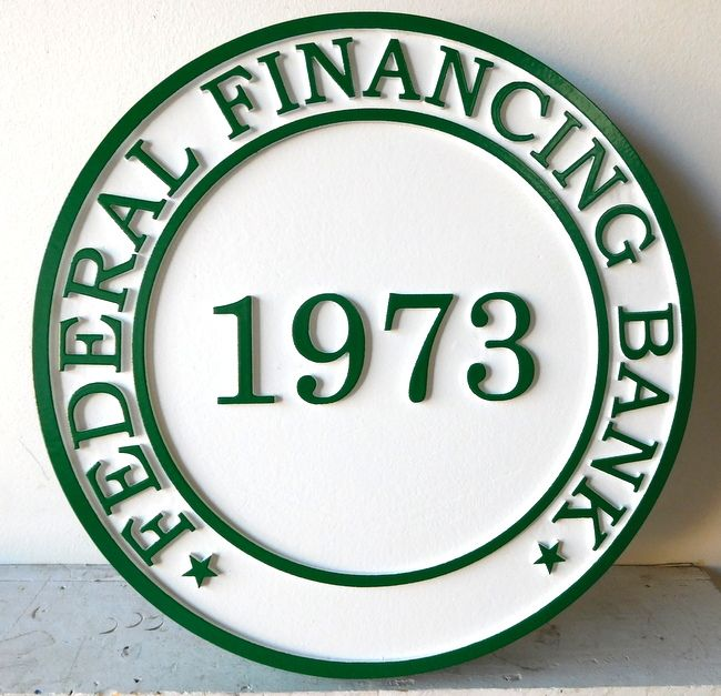 C12222 - Carved  High-Density-Urethane Sign for Federal Financing Bank