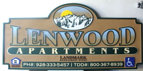 "K20141 - Carved ""Lenwood""  Apartment Entrance Sign with Snowy Mountains and Settong Sun"