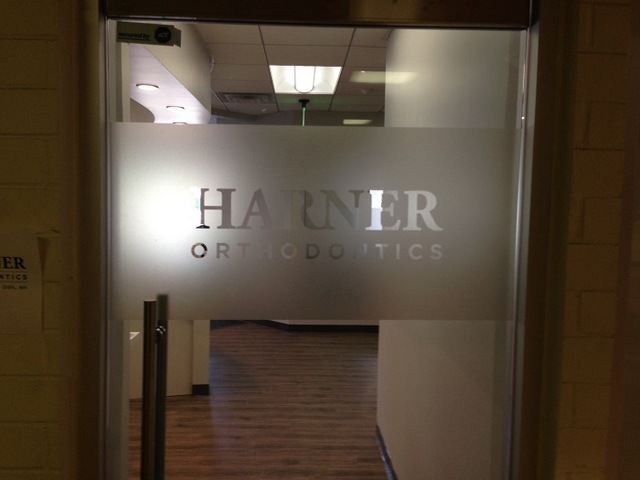 Etched door graphics for dentists in Orange County