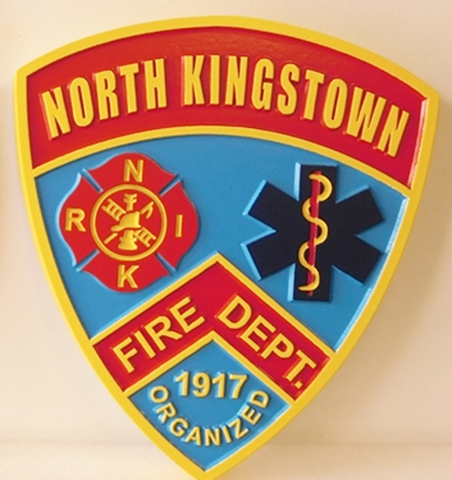 QP-2080 - Carved Wall Plaque of  the Shoulder Patch of the North Kingstown Fire Department, Rhode Island, Artist Painted