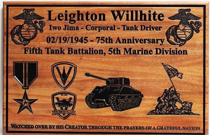 WM1400 - Engraved  Memorial Plaque for a Marine