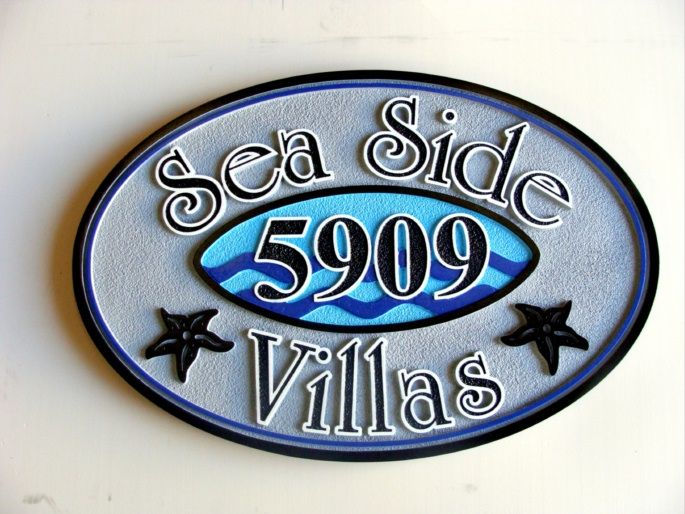 L21516 - Carved Beach Condo Sign with Starfish and Stylized Waves Sign