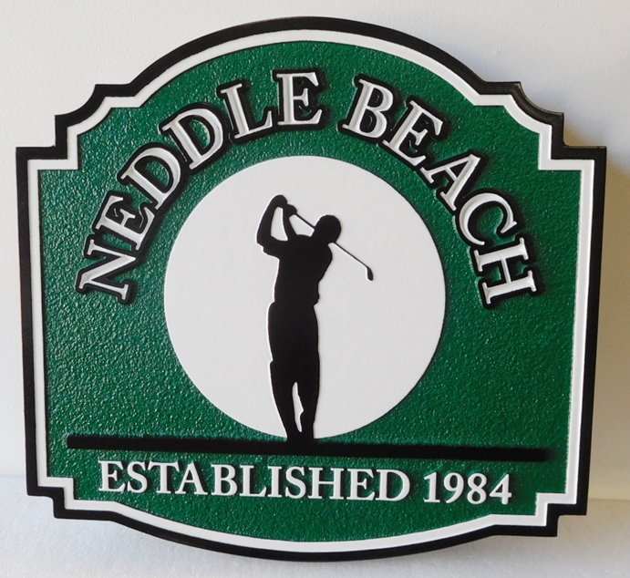 "E14788- Golfer Residence  Sign with  with ""Top of Swing"" Silhouette Image of Golfer"