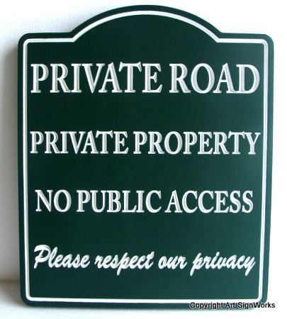 H17111 - Engraved  HDU Private Road / No Public Access Sign