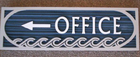 KA20520 - Carved Wood Grain HDU Office Sign, Blue with Decorative Carved Waves