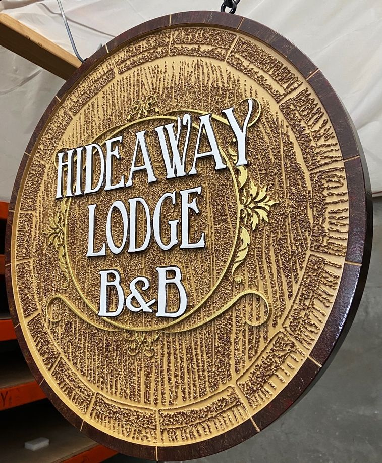 "T29165 - Carved HDU ""Hideaway Lodge B&B"" Hanging Entrance Sign, Brown Color"