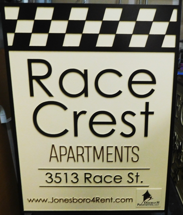 "K20338 - Carved HDU Entrance Sign,  for  the ""Race Crest"" Apartments"