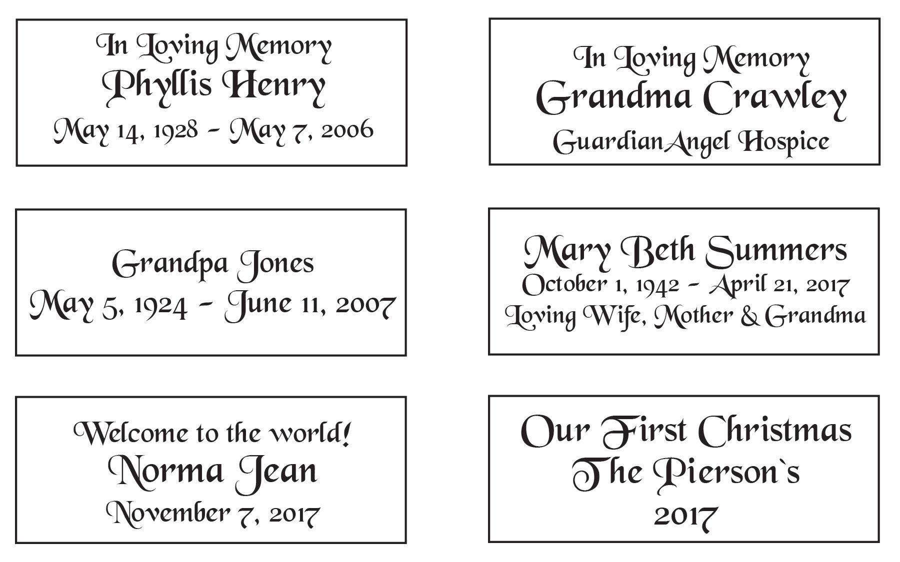Memorial Angel Examples