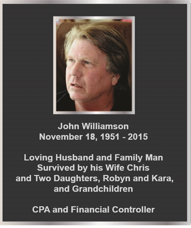 ZP-3030 - Carved Memorial Photo Plaque  for  John Williamson,  Painted Silver and Bronze