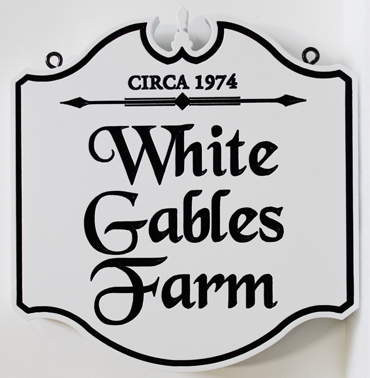O24029 -  Elegant CarvedColonial-style Sign for the White Gables Farm