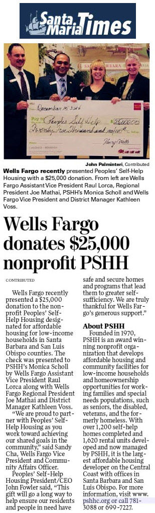 Wells Fargo donates $25,000 nonprofit PSHH - Santa Maria Times