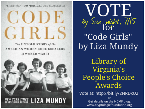 "VOTE for ""Code Girls"" - finalist for Library of VA People's Choice Award! Voting ends 7/15, Sunday night."