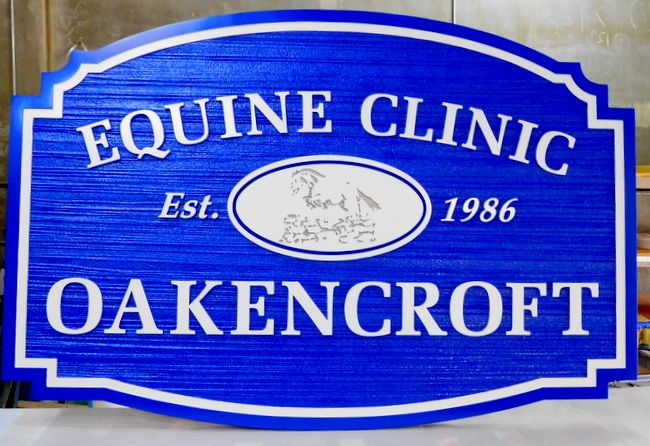 BB11739 - Carved and Sandblasted Equine Clinic Sign, with Engraved Stylized Image of a Horse