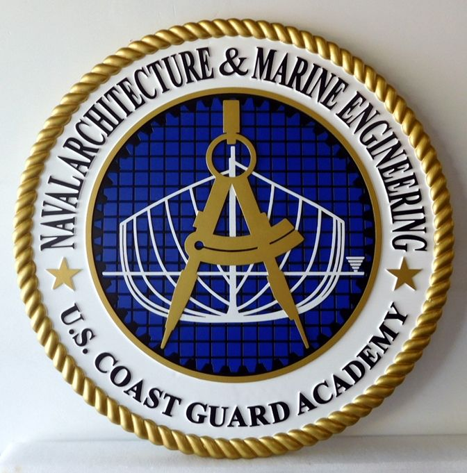 RP-1888 - Carved Wall Plaque of  the Seal of Naval Architecture & Marine Engineering,  Coast Guard Academy, Artist Painted