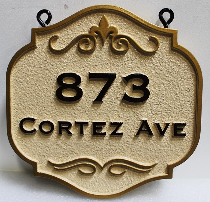 I18856-  Elegant Carved HDU Strret Address Number and Name Hanging Sign, 2.5-D