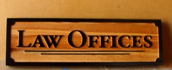 A10414–Carved and Sandblasted Cedar Wood Law Office Sign ,  Natural