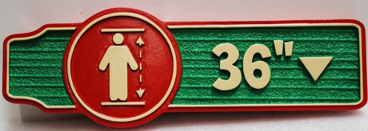 GA16545 - Carved High-Density-Urethane (HDU)  Sign for a Child's Ride, Showing Height Limit