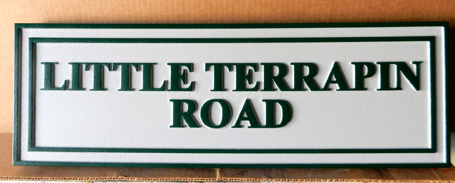 M17061 - Carved HDU Road Name sign, Little Terrapin Road