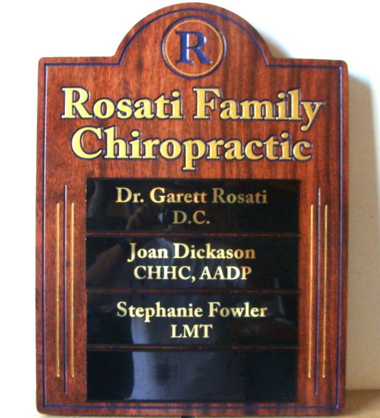 """B11150 - Carved Western Red Cedar Sign, Embellished with Engraved Art and Text and Painted in Metallic Gold for """"Family Chiropractic"""" Office."""