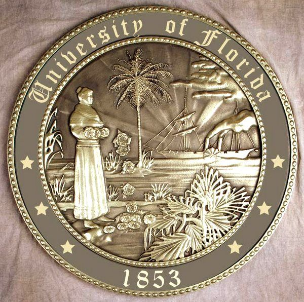 RP-1540 - Carved Wall Plaque of  the Seal of the University of Florida, Brass Plated