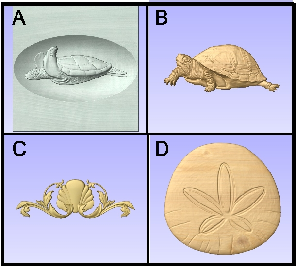 L22046 - 3-D Carved Marine Animals for Signs (Sea Turtle, Tortoise, Sand Dollar)