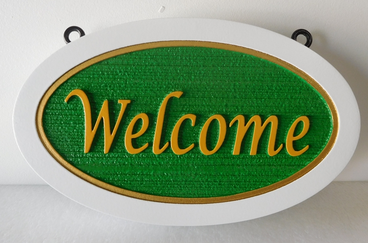 I18803- Carved and Sandblasted HDU Welcome Sign, with Double Border