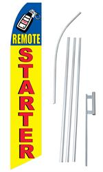 Remote Car Start Extra Wide Swooper/Feather Flag + Pole + Ground Spike
