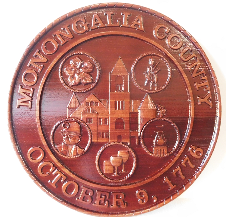X33364 - Carved Cedar Wood Wall Plaque of the Seal of Mononogalia  County, West Virginia.