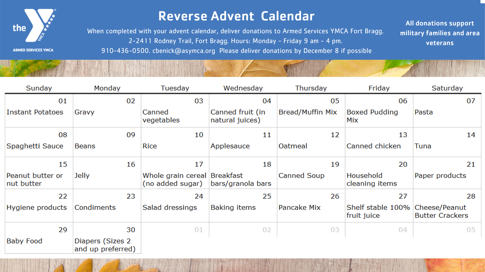 Fort Bragg YMCA Food Pantry Support (Reverse Advent Calendar)