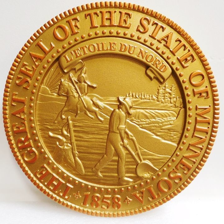 W32284 - Carved 3-D HDU Plaque of the Great Seal of the State of Minnesota