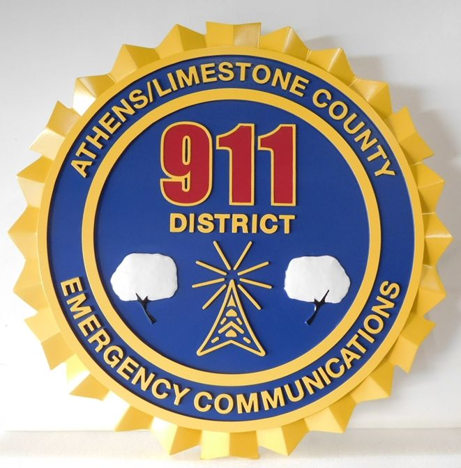 QP-3067 - Carved Wall Plaque of  the Seal of the Athens-Limestone County Emergency Communications,  Artist Painted