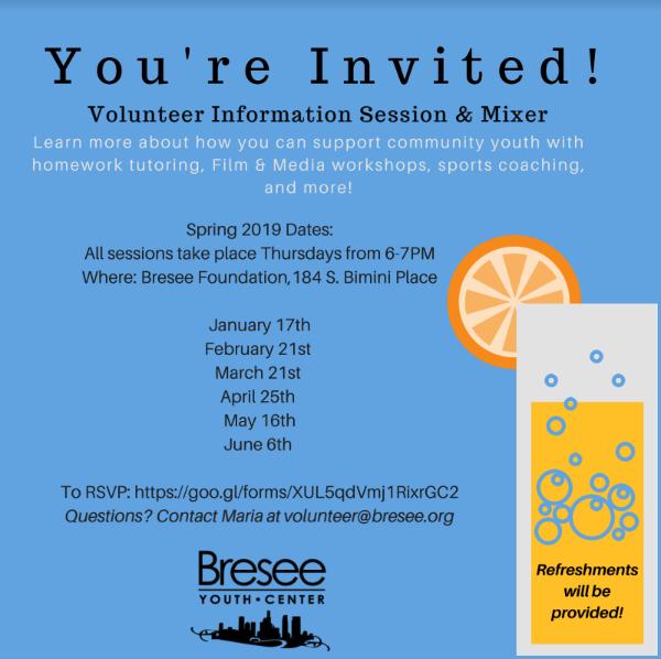 Volunteer Info Session & Mixer