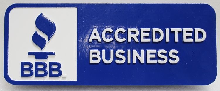 VP-1005 - Carved 2.5-D Raised Relief Plaque of Logo of Better Business Bureau (BB), for BBB Accredited Business