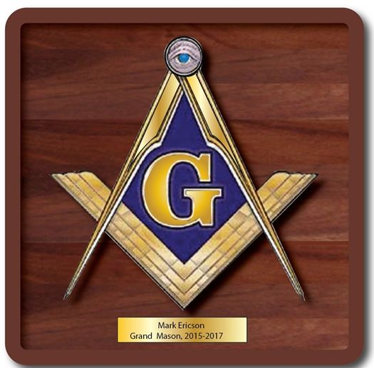 WW8200 - Masonic Plaque, Stained Cherry Wood with Brass-Coated Emblem