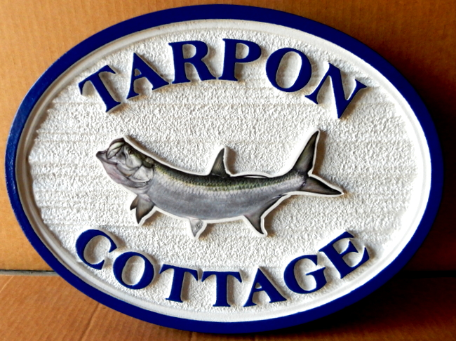 L21378 - Carved Sign for Fishing Cottage with Tarpon
