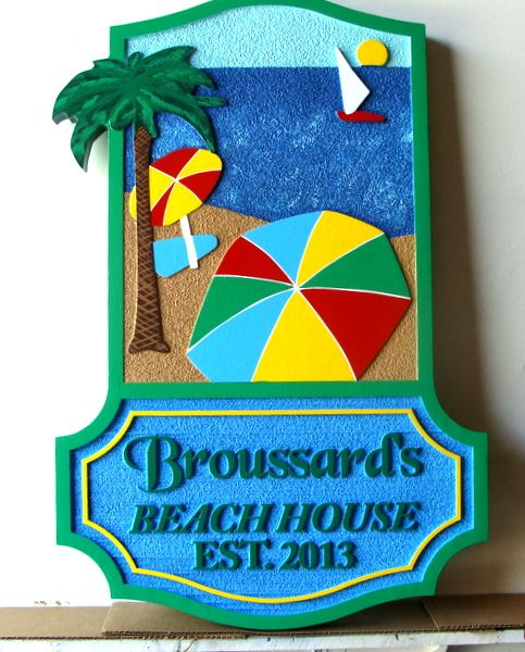 "L21067- Carved and Sandblasted HDU Sign for Beach House, with Sun, Umbrella, Palm Tree, Sailboat, Ocean and Name Plate, ""Broussard's Beach House"""