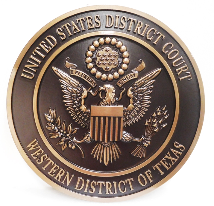 FP-1185 - Carved Plaque of the Seal of  the US District Court of the Western  District of Texas, 3-D Bronze Plated