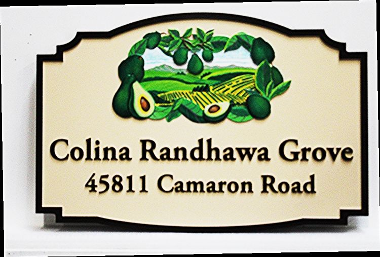 """O24701 -  Carved High-Density-Urethane (HDU) Sign for the """"Colina Randhawa (Avocado) Grove"""", with  Artist-painted Avocados and aScene of a Grove)"""