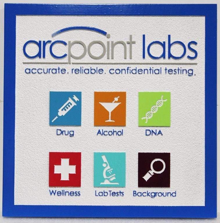 SA28505 - Carved 2.5-D Multi-Level and Engraved HDU Sign  for Arcpoint Labs