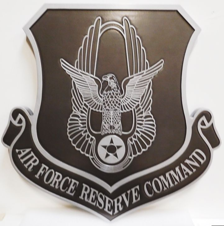 LP-1690 - Carved Plaque of the Shield Crest of the United States Air Force Reserve Command, 2.5-D Outline Relief,  Painted Metallic Silver and Black