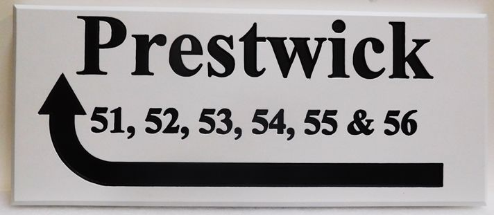 KA20858 - Carved Custom Unit Number Directional Sign for an Apartment Unit Numbers