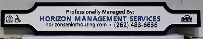 """KA2587 - Carved HDU """"Horizon Management Services"""" Sign"""