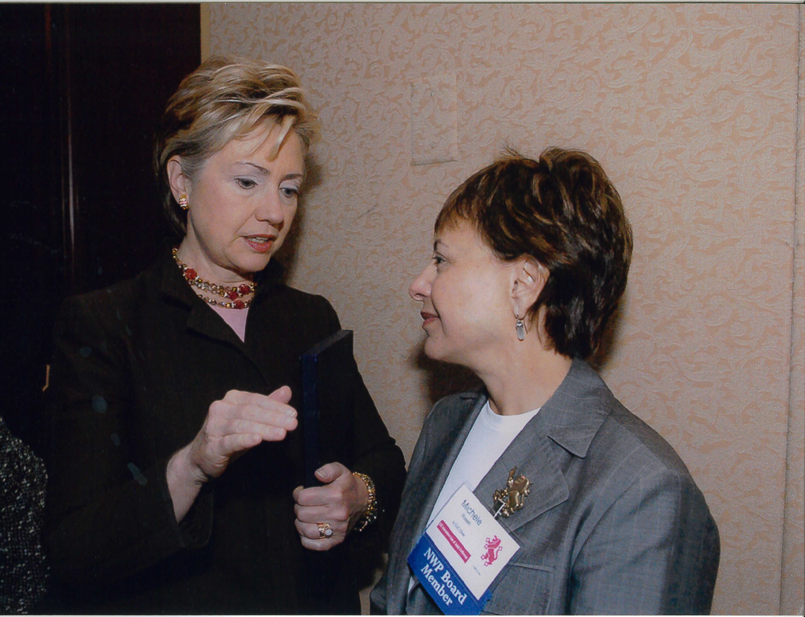 Hilary Clinton and Michele Rosen.