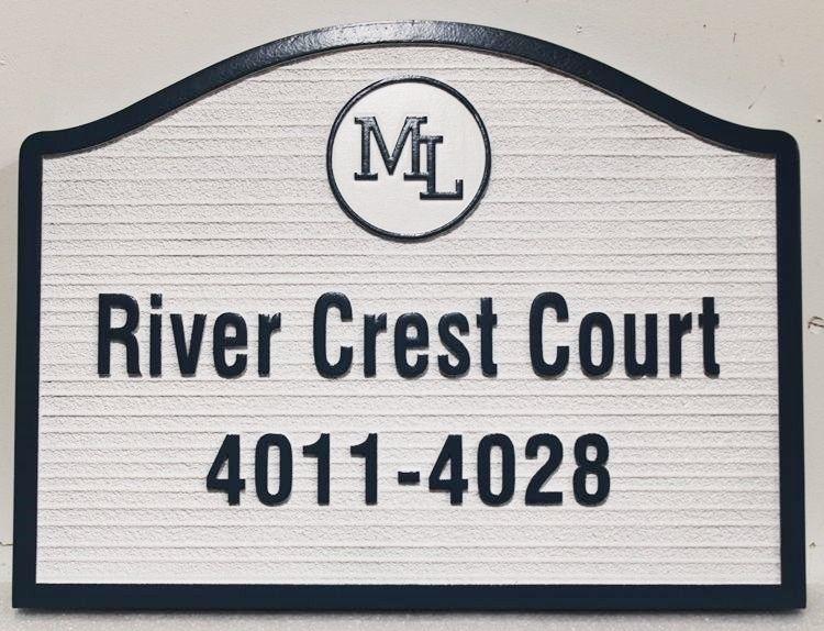 "KA20898- Carved and Sandblasted Wood Grain HDU ""River Crest Court"" Street Name and Address Number Sign"