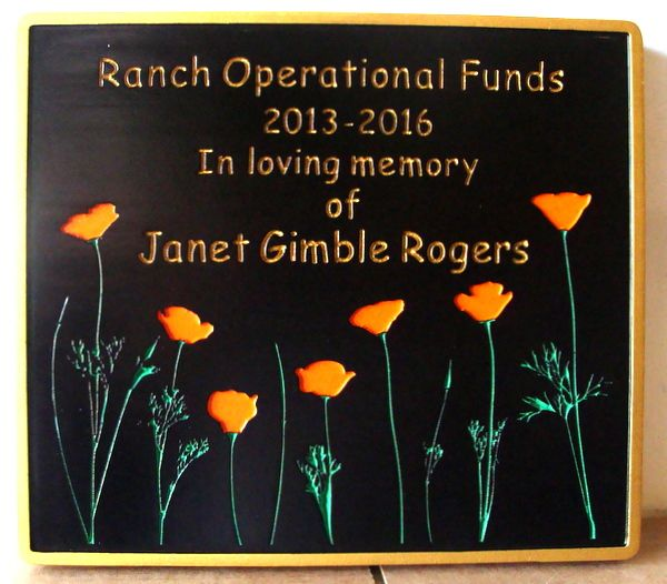 """GC16585 - Engraved HDU Wall Plaque which Dedicates  """"Ranch Operational Funds"""" to the Memory of Janet Rogers."""