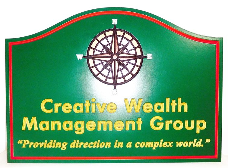 C12038 - Elegant Carved Wealth Management Group  Sign, with Engraved  Text and Artwork