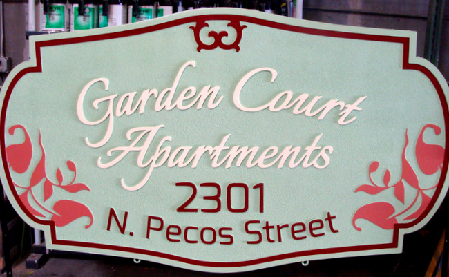 K20104 - Carved HDU Entrance Sign for Garden Court Apartments, with Flowers and Leaves