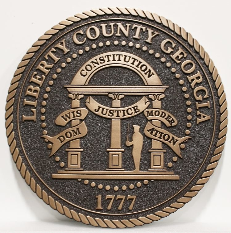 CP-1282 - Carved 2.5-D Bronze-Plated Plaque of the  Seal of the Liberty County, Georgia